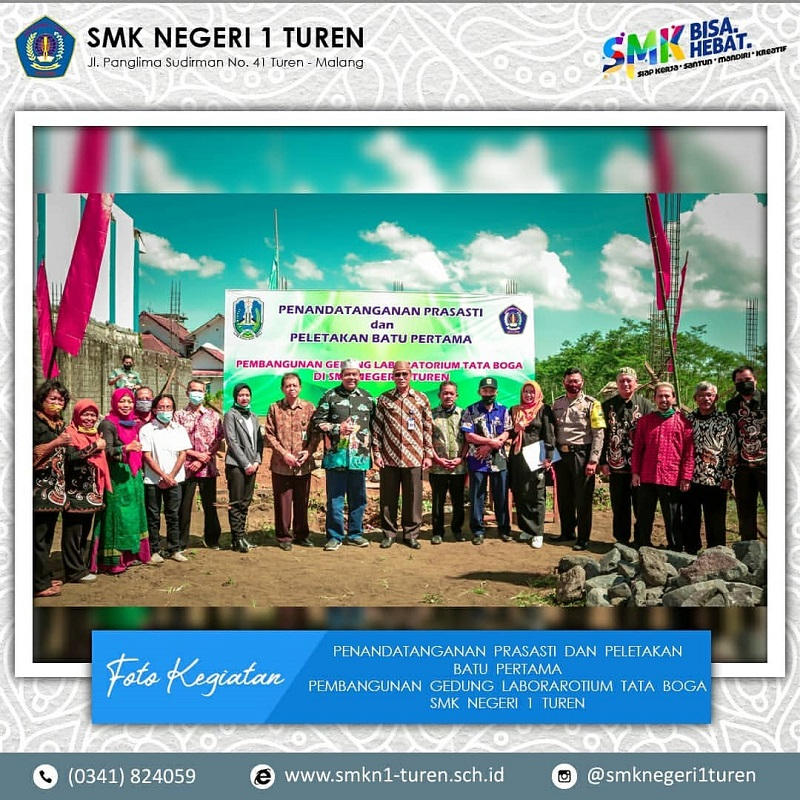 Penandatanganan Prasasti Pembangunan Gedung Laboratorium Tata Boga SMK Negeri 1 Turen