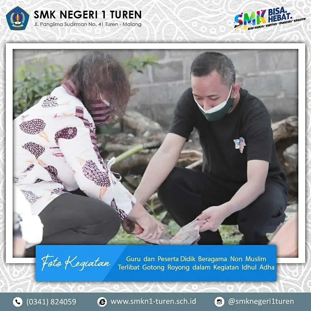 Indahnya Toleransi Umat Beragama Keluarga Besar SMK Negeri 1 Turen dalam Idhul Adha 1442 H